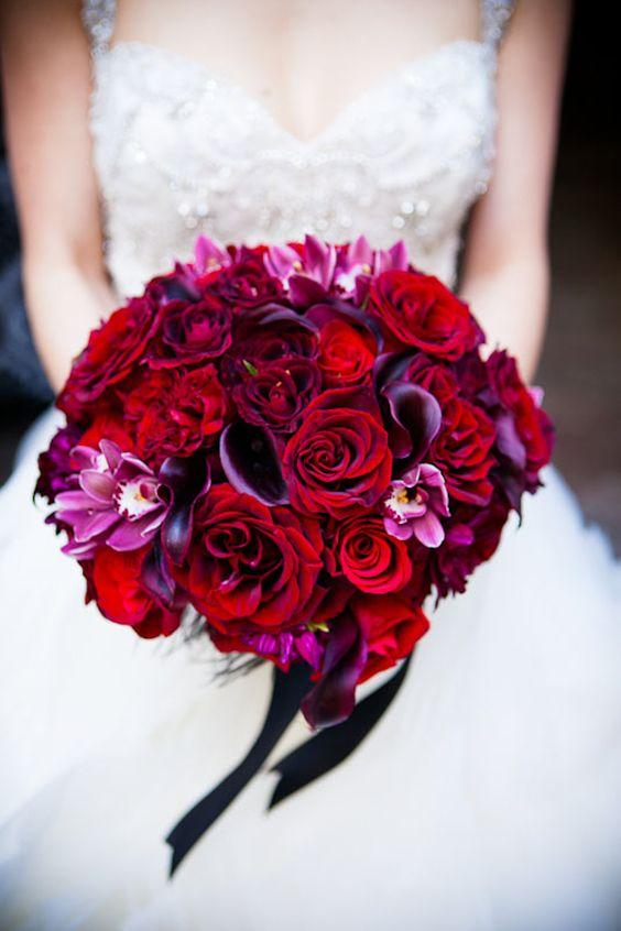 Breathtaking deep red and purple bridal bouquet, photos by Callaway Gable | via junebugweddings.com