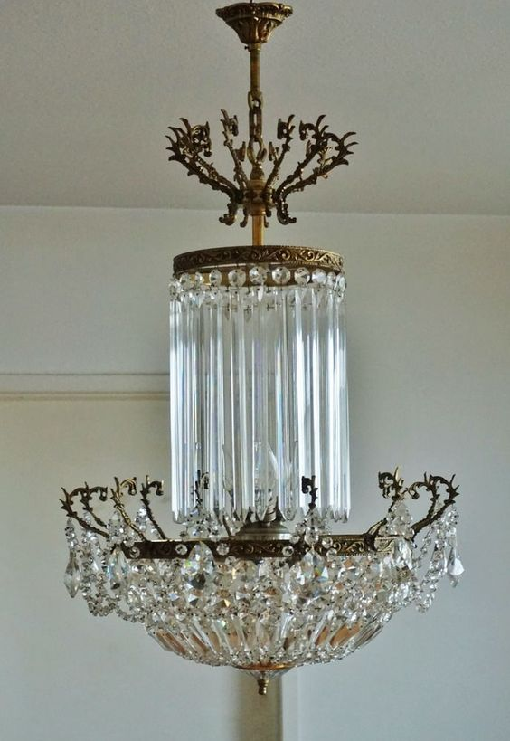 Antik Kristall Kronleuchter Luster Deckenlampe Jugendstil Chandelier 1890 1900 Kronleuchter Kronleuchter Antik Deckenlampe