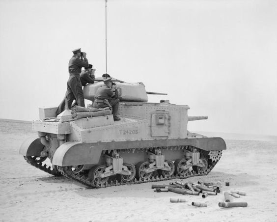 The US General Grant tank gave British armour a good 75mm HE round for the first time, but the tank had to be in a vulnerable 'hull up' position to use it.  The turret mounted 37mm was inadequate against longer ranging German armour by early 1942.  CinC General Auchinleck on the back decks.