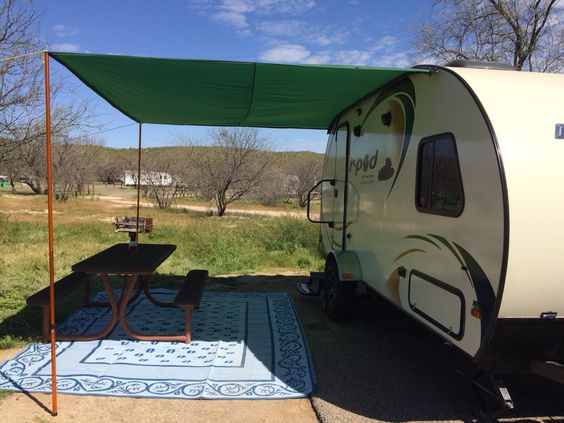Awning Made From Ripstop Tarp And Keder Rope Took About A Hour To Sew Ripstop Onto Keder But It Works Wonderfully I Trailer Awning Diy Awning Caravan Awnings