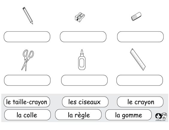 worksheets school french french vocab school supplies pinterest search and schools. Black Bedroom Furniture Sets. Home Design Ideas