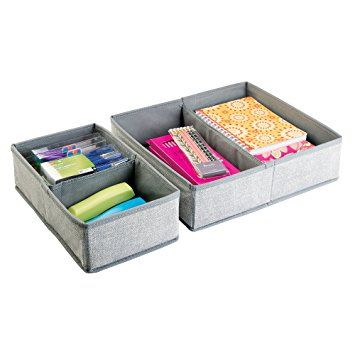 mDesign Fabric Desk Drawer Storage Organizer for Office Supplies, Pencils, Pens, Staplers, Notepads - Set of 2, 4 Compartments, Large, Gray