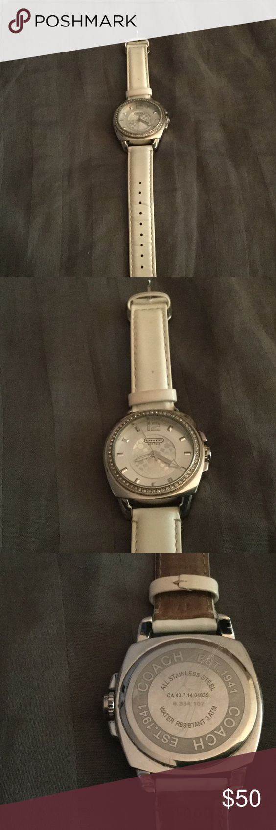 WHITE COACH WATCH ⌚️STILL IN WORKING CONDITION GOOD CONDITION WHITE COACH WATCH SOME SCRATCHES ON THE BACK DIAL AS SHOWN IN PIC 3. JUST REPLACED THE BATTERY. Coach Jewelry