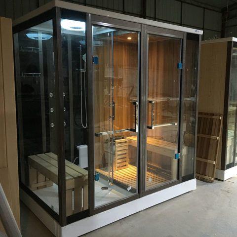 Finnish Sauna Wet Steam Shower Combo Infrared Sauna Sauna Room
