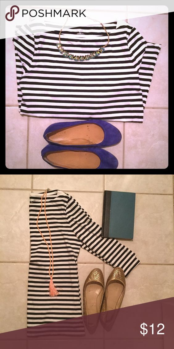 Merona Striped Boatneck Tee This versatile staple is a MUST in your closet! It can be dressed up or down, paired with any accessory, or mixed and matched with plenty of colors! 95% cotton, 5% spandex. Black and white stripes. 3/4 sleeves. Size M. Merona Tops Tees - Long Sleeve