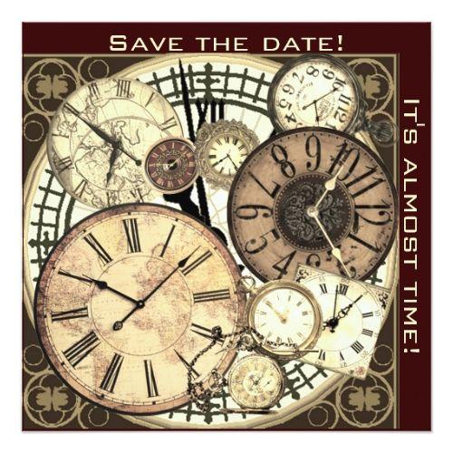 Save The Date Clocks Invitation Template Zazzle Com Steampunk Diy Crafts Clock Fabric Wallpaper