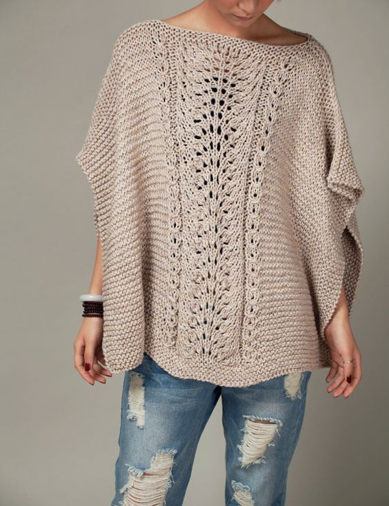 Hand Knitting Techniques : Hand knitted woman cotton poncho capelet wheat sweater