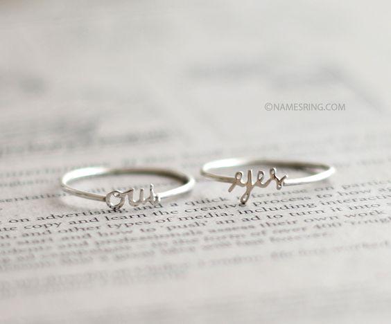 yes rings: Word Rings, Gift Ideas, Kids Names, Sterling Silver Rings, Name Rings