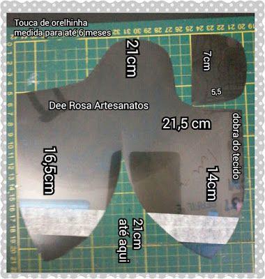 Dee Rosa Artesanatos!: Molde: Touca/Gorro de orelhinha em tecido e soft