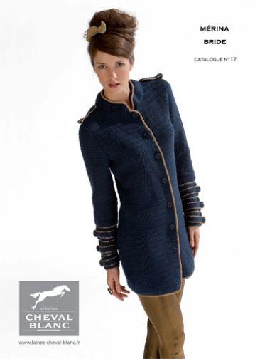 Modèle de tricot - Veste n°11 - Catalogue Cheval Blanc n°17 - Laine utilisée : MERINA / BRIDE