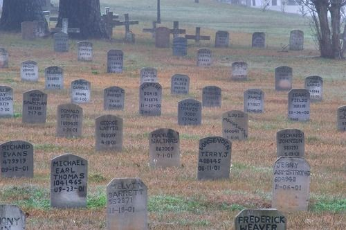 Historic prison cemetery in Huntsville, Texas. Named Joe Hill Cemetery, approximately 3,000 prisoners are buried on its 22 acres.