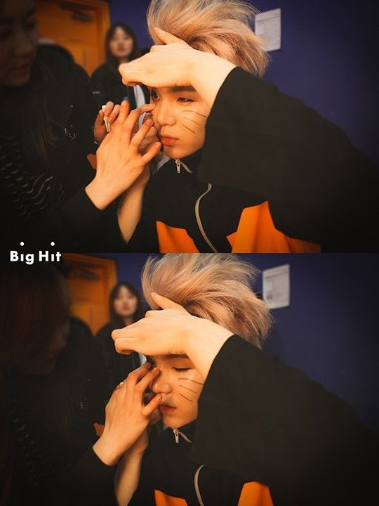 Suga as naruto needs help putting on contacts