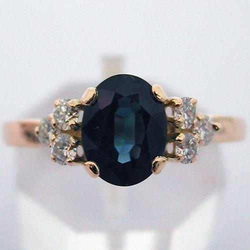 Bague or saphir diamants 391