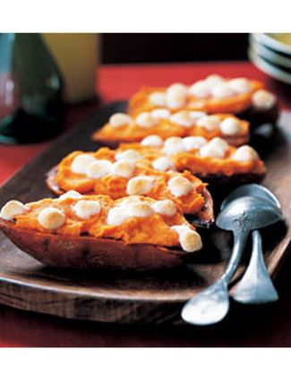 Twice-Baked Sweet Potatoes  Healthy Pregnancy snack, sans the marshmallows. Replace w/walnuts or pecans.