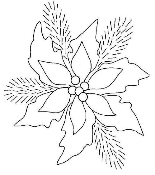 Dibujos Para Imprimir De La Flor De Noche Buena Imagui Christmas Embroidery Patterns Christmas Applique Patterns Christmas Coloring Pages