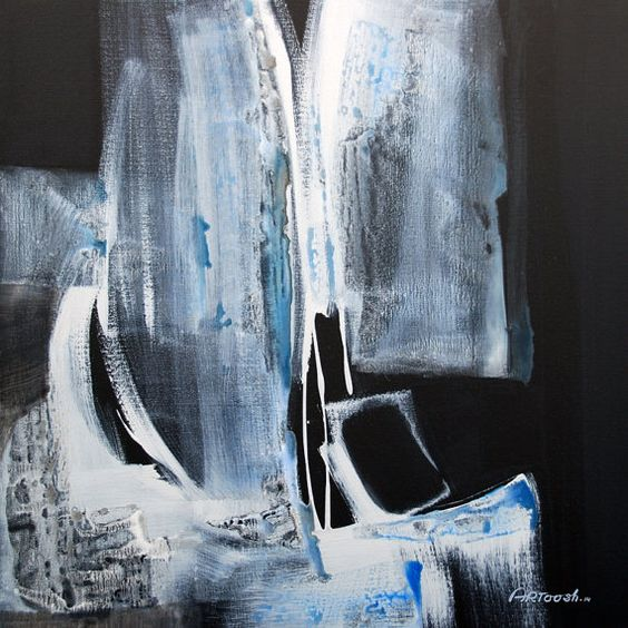 Abstract Painting Grey Blue Black White by Artoosh by Artoosh