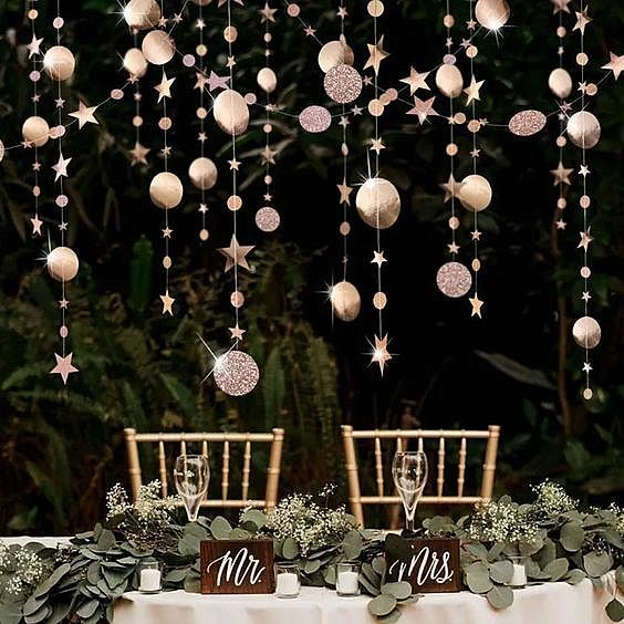 Rose Gold Party Decoration Circle Dot Garland Banner for Twinkle Starry Birthday
