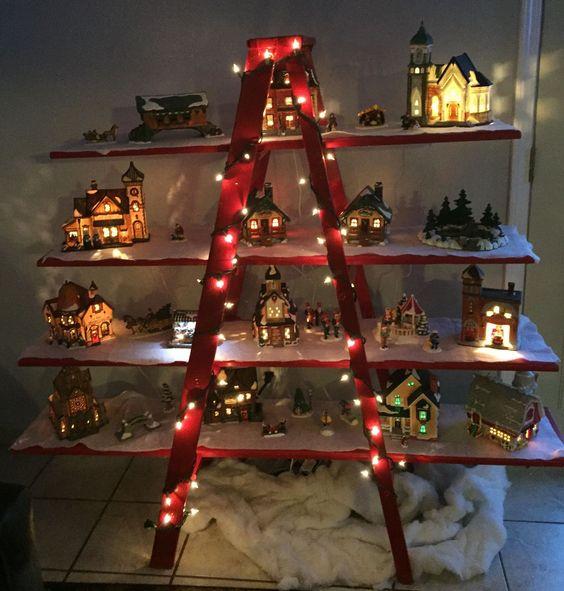 Christmas Village Decorations Ideas: Nutcracker Music, Ladder Display And Ladder On Pinterest
