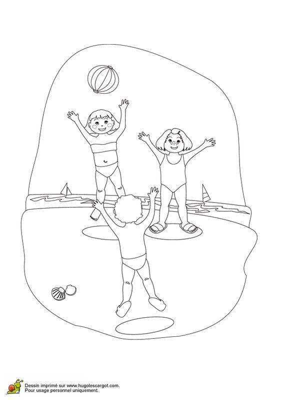 Un peu de couleur embellira ce dessin de trois enfants qui jouent au ballon sur la plage - Couleur qui s accorde ...