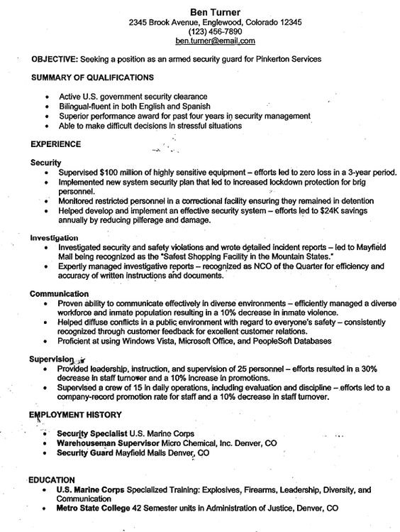 Resume of An Architect - http\/\/resumesdesign\/resume-of-an - security guard resume objective
