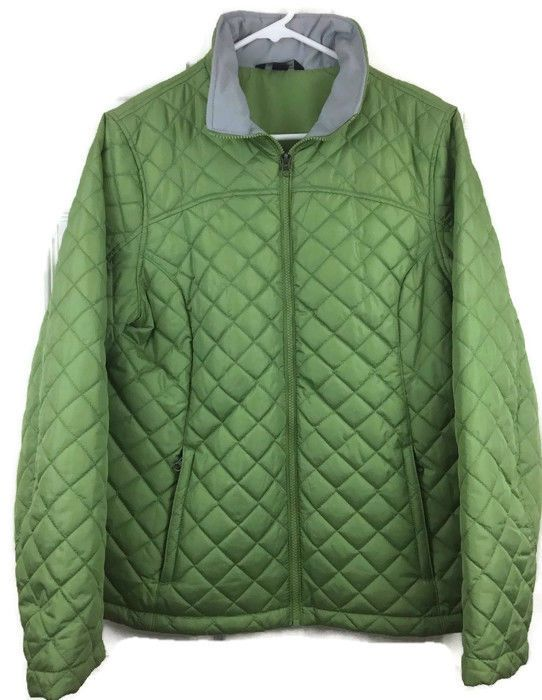 Lands End Quilted Jacket Full Zip Stand Up Collar Green Diamond