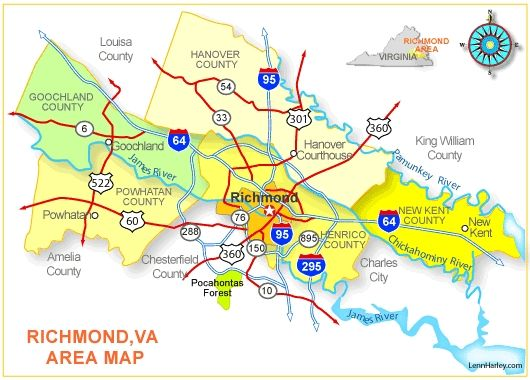 Richmond Virginia Map high resolution map of central ...