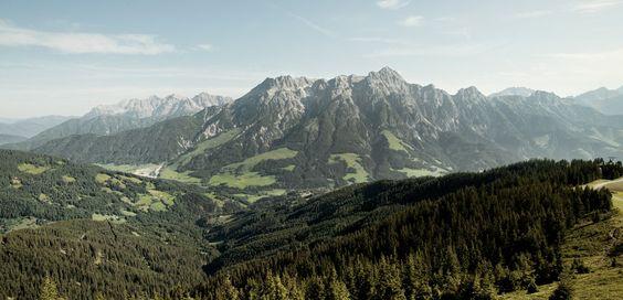 Steinberge und Grasberge in den Alpen.