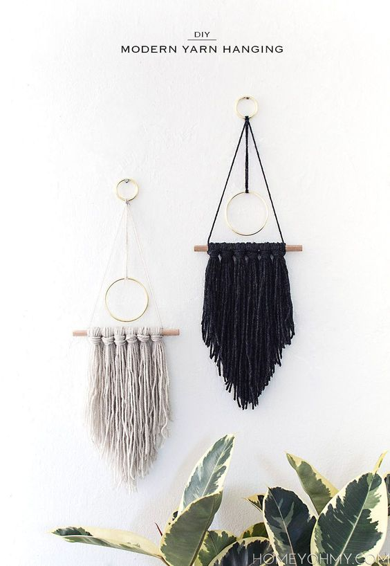 DIY Modern Yarn Hanging: