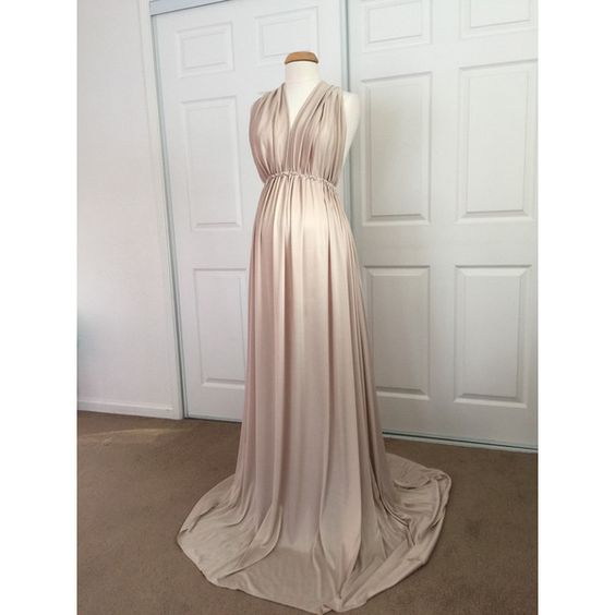 Champagne Jersey Maternity Infinity Gown Maternity Dress Maternity... ($75) ❤ liked on Polyvore featuring maternity, black, dresses and women's clothing