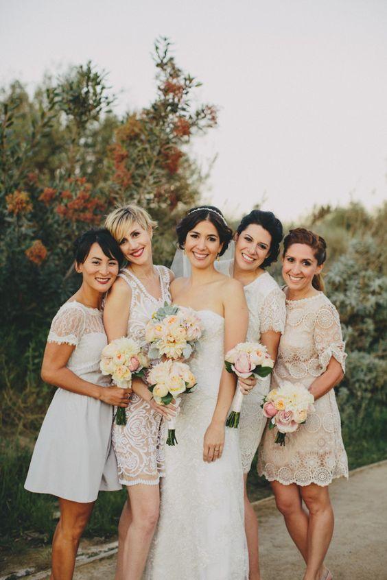BHLDN bridesmaids in shades of white | via: a practical wedding
