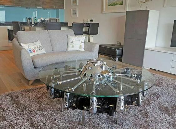Radial engine table.. | Mesas recicladas motor radial aeronutico |  Pinterest | Radial engine, Boys furniture and Basements