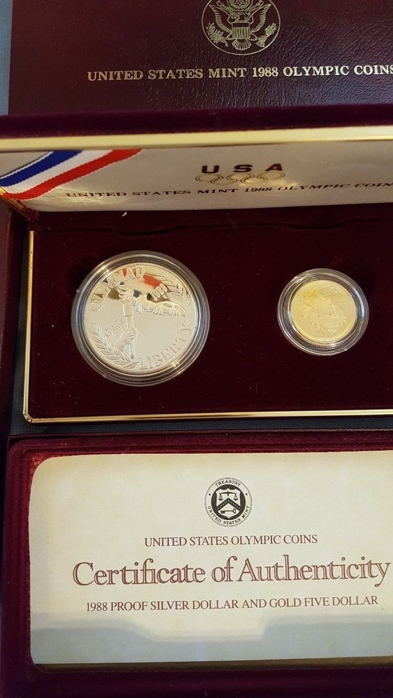 1988 Us Mint Olympic 2 Proof Coin Set With Box Coa Silver And