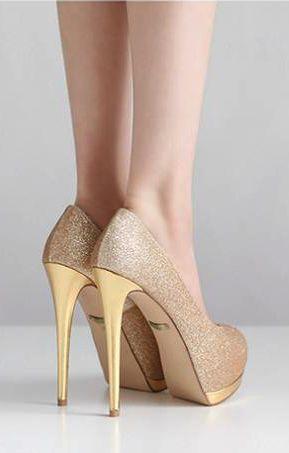 Elegant Peep Toe Stiletto High Heel Gold Pumps