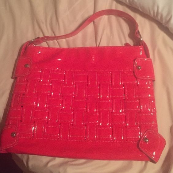 New large red shiny Chinese laundry purse Width 161/2, bag height over 11, strap drop 7. New ! Couldn't get fourth pic working ! I'll keep trying . The inside has one of those middle zipper pouches that create a side 2 sides. 1 on each side of the bag.. Chinese Laundry Bags Totes