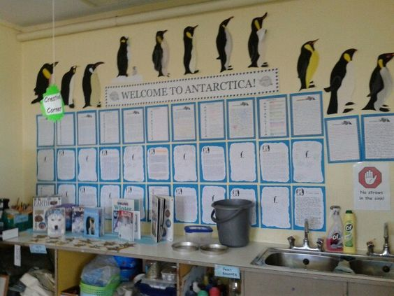 Winter theme... Welcome to antarctica... Report writing on life of emperor penguin... Integration of art by sketching and painting adult emperor penguin. Reading material displayed beneath...selection of books on antarctic/polar wildlife & explorers!: