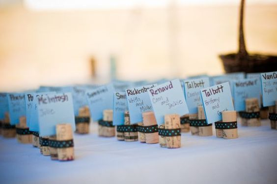 Very cute DIY for brown and light blue wine themed wedding/party