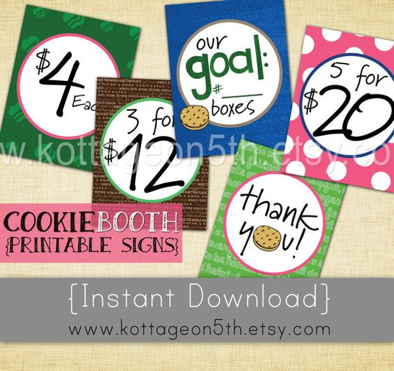 SALE - Scout Cookie Booth Price n Goal Signs - 5 Printable Pages - 8 1/2 x 11 - Easy to Print - Instant Download for your Daisy Brownie Girl!  So fun and cute and coordinates with the printable banner available on shop.  Love it?  Please help support small business (and fellow Girl Scout mama) by purchasing this listing from www.kottageon5th.etsy.com.  Thank you!