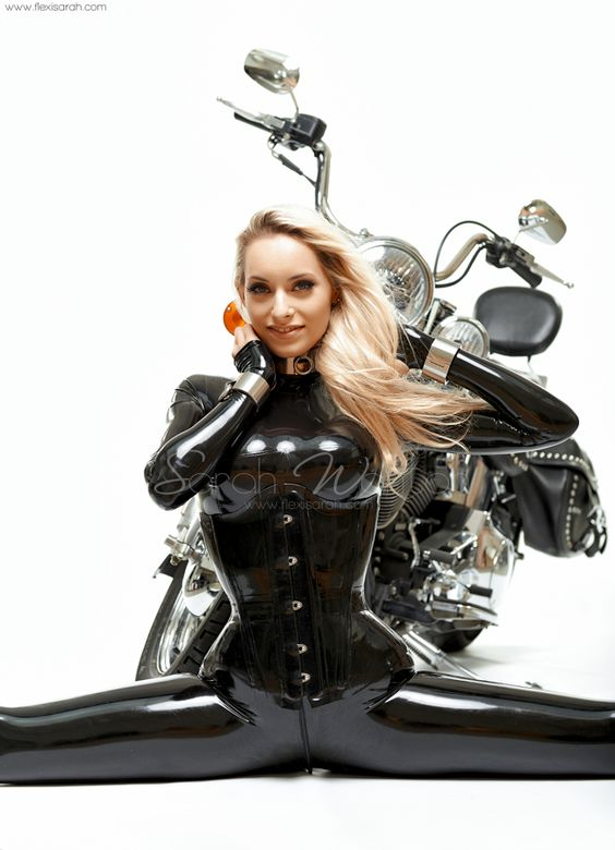 #011 Black latex on a Harley Davidson | Sarah Wanton