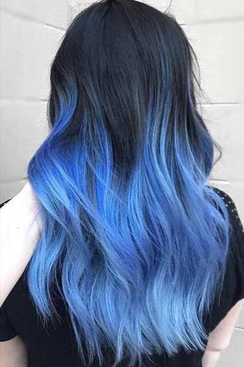Dark Brown Hair Blue Dip Dye Hair Dye Tips Blue Ombre Hair Dip