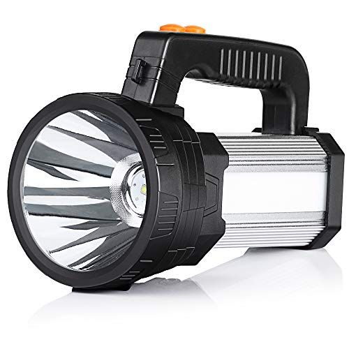 Buysight Rechargeable Spotlight Spot Lights Hand Held Large Flashlight 6000 Lumens Handheld Spotlight Lightweight And Super Bright Flashlight Outdoor Spotlight In 2020