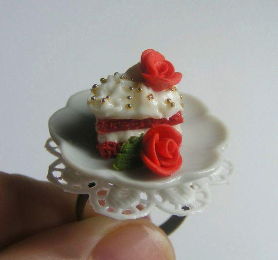 Alimentaire bijoux velours rouge gâteau bague bague de par NeatEats