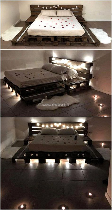 10 Wonderful Wood Pallet Bed With Lights Gallery