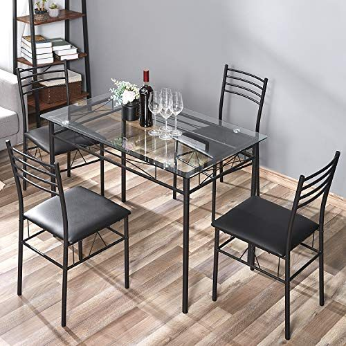 Kealive Dining Table Set With 4 Chairs Tempered Glass Top Kitchen Table Set Rectangular Table Furniture Metal Frame Modern Table Set For Kitchen Table Settings