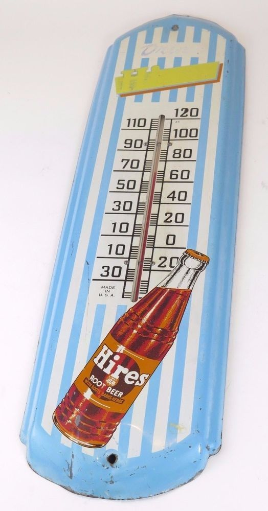 "Vintage 50's HIRES ROOT BEER THERMOMETER 27"" metal antique soda sign - ORIGINAL #Hires"