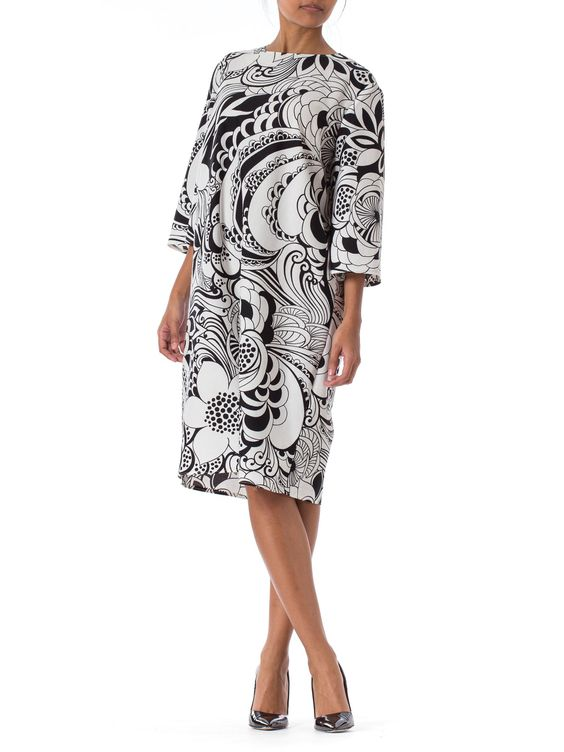 1960s MOD B&W Floral psychedelic 3/4 Sleeve Dress