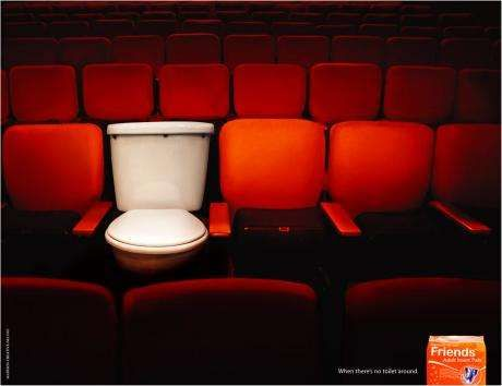 """How else can """"Friends,"""" an adult diaper company, show what they provide but with toilets for cinema?"""