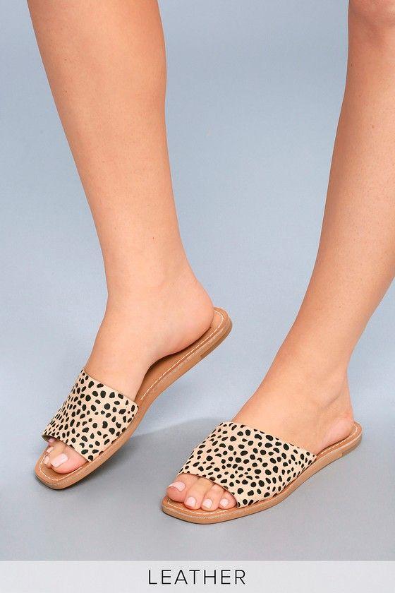 Cato Leopard Pony Fur Slide Sandals 6