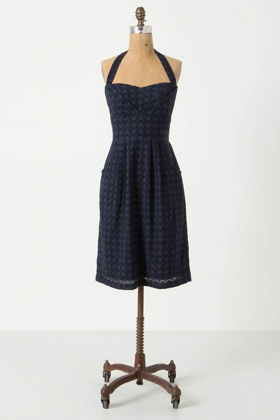 Eyelet Branch Halter Dress