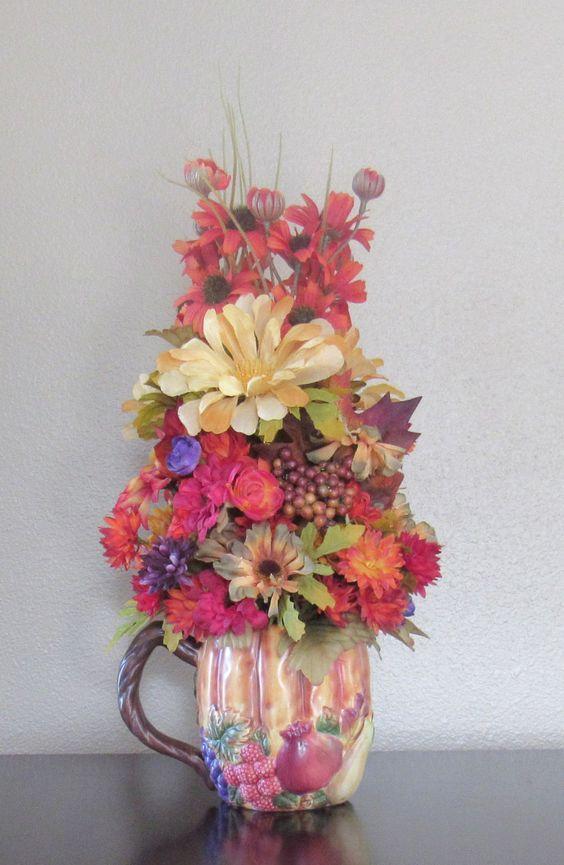 Artificial flower arrangement faux flowers floral arrangement centerpiece fall pumpkin for Arrangement floral artificiel
