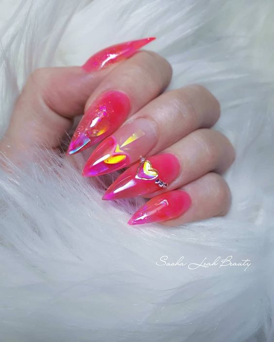 Pink heart gloss nails https://www.instagram.com/sashaleahbeauty/